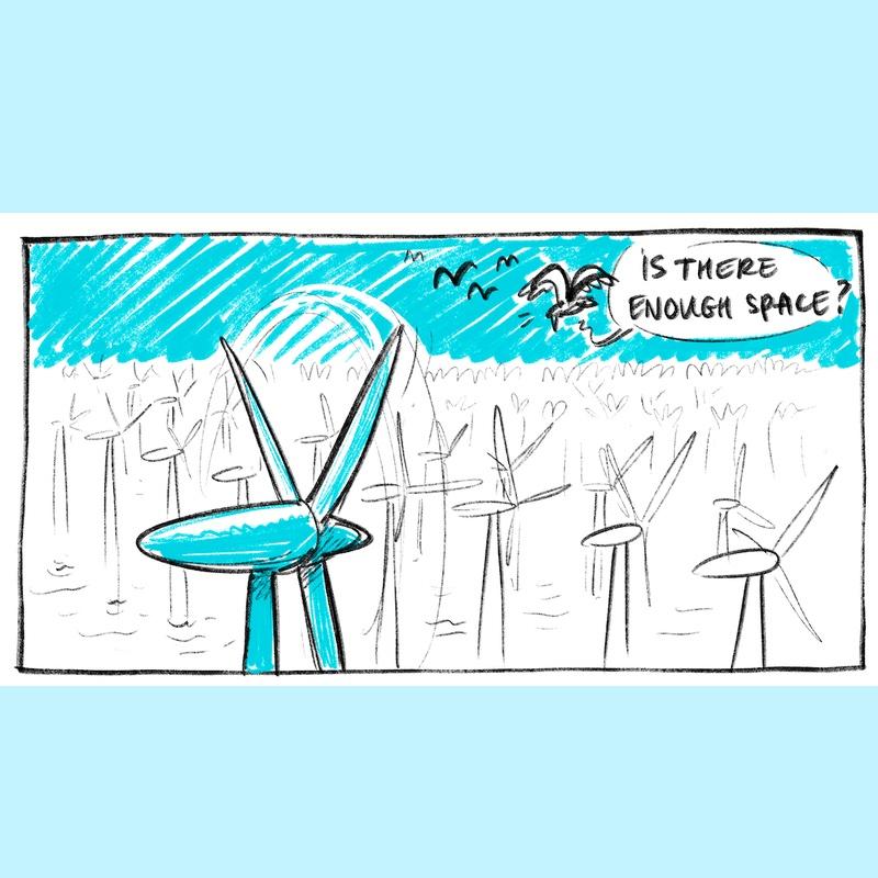 Tekening van windmolens op zee met daarbij de vraag: is er genoeg ruimte?